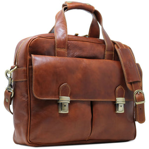 Computer Bag Floto Roma Leather Briefcase Messenger brown 2