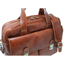 Load image into Gallery viewer, Computer Bag Floto Roma Leather Briefcase Messenger brown 8