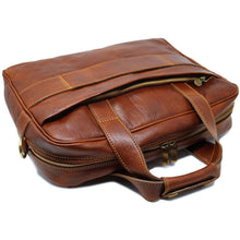 Load image into Gallery viewer, Computer Bag Floto Roma Leather Briefcase Messenger brown 4
