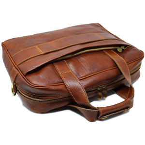 Computer Bag Floto Roma Leather Briefcase Messenger brown 4
