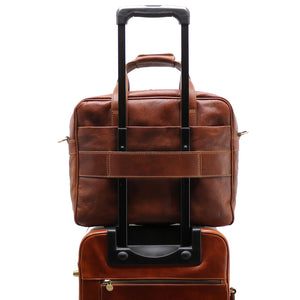 Computer Bag Floto Roma Leather Briefcase Messenger brown 7