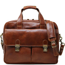 Load image into Gallery viewer, Computer Bag Floto Roma Leather Briefcase Messenger brown
