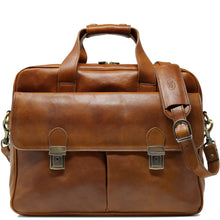 Load image into Gallery viewer, Computer Bag Floto Roma Leather Briefcase Messenger tobacco brown