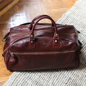 leather duffle bag floto brown
