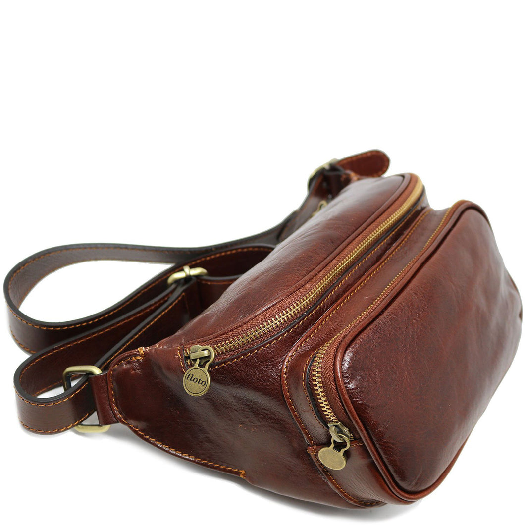 Leather Fanny Pack Waist Bag Floto Brown 2