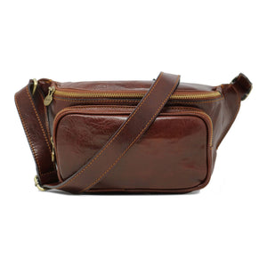 Leather Fanny Pack Waist Bag Floto Brown 1