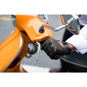 Floto men's black leather driving gloves