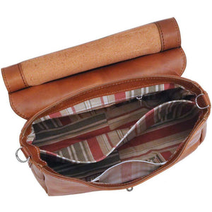 Floto Leather Bamboo Handle Saddle Bag
