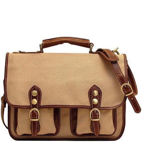 Floto Italian canvas and leather Poste messegner bag