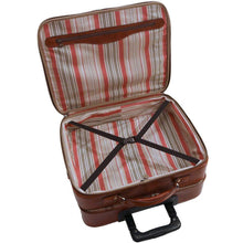 Load image into Gallery viewer, leather rolling mobile luggage briefcase trolley bag floto