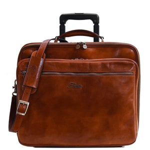 leather rolling mobile luggage briefcase trolley bag floto
