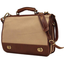 Load image into Gallery viewer, Floto Italian canvas and leather Roma messegner bag 2