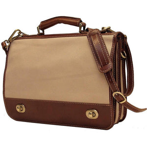 Floto Italian canvas and leather Roma messegner bag 2