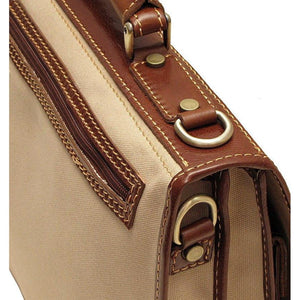 Floto Italian canvas and leather Roma messegner bag 4
