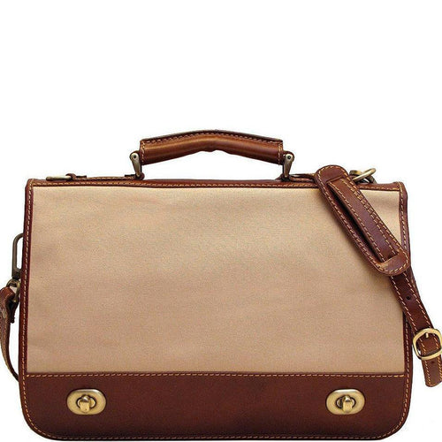 Floto Italian canvas and leather Roma messegner bag