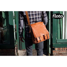 Load image into Gallery viewer, Floto Italian Forum leather messenger bag men's tote 7