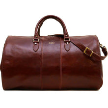 Load image into Gallery viewer, leather garment duffle bag monogram