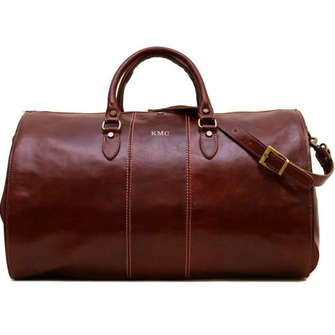 leather garment duffle bag monogram