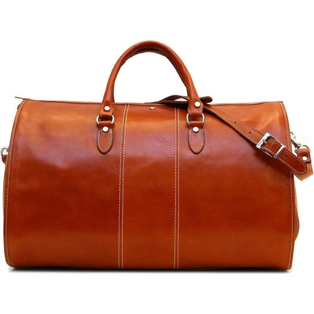 Floto Leather And Canvas Duffle Travel Bag Luggage