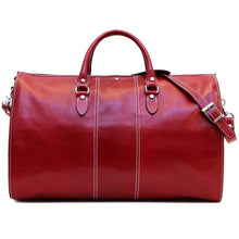 Load image into Gallery viewer, Floto Italian Leather Garment Duffle Bag Suitcase red
