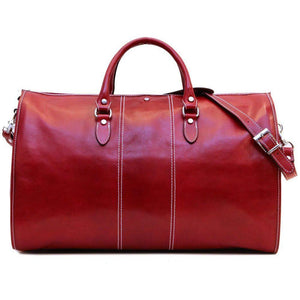 Floto Italian Leather Garment Duffle Bag Suitcase red
