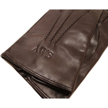 Load image into Gallery viewer, Monogram Floto men's cashmere lined brown leather gloves