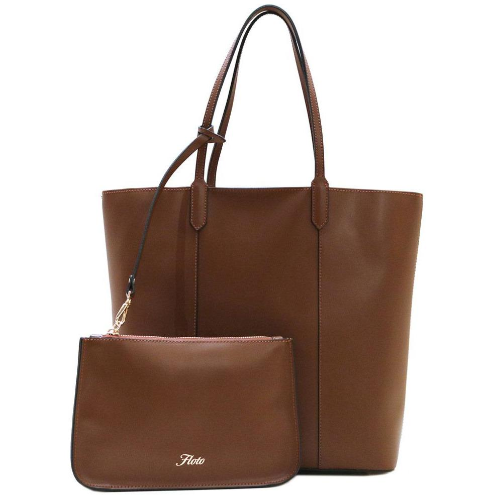 Floto Italian Leather Tote Ischia Women's Shoulder Bag brown