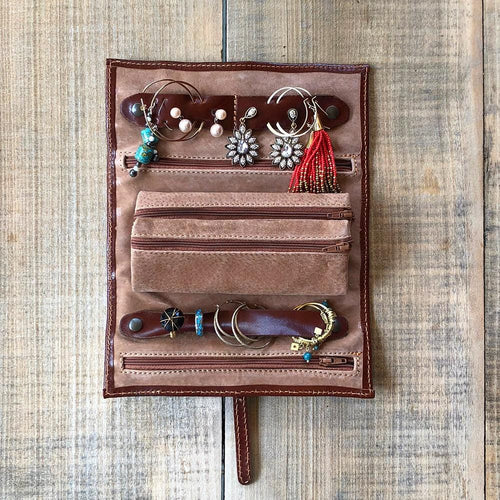 Leather Jewelry Roll Case Floto inside