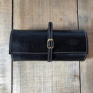 Leather Jewelry Roll Case Floto black