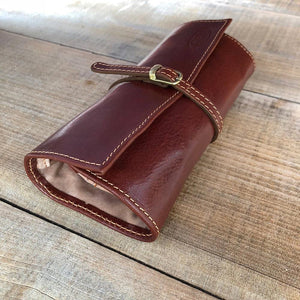 Leather Jewelry Roll Case Floto brown rolled