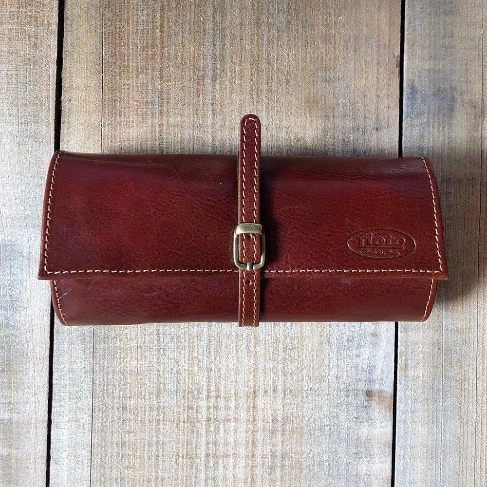 Leather Jewelry Roll Case Floto brown