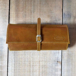 Leather Jewelry Roll Case Floto olive honey brown