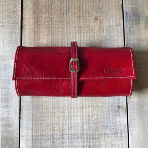 Leather Jewelry Roll Case Floto red