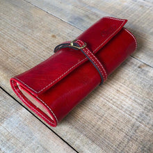 Load image into Gallery viewer, Leather Jewelry Roll Case Floto red rolled