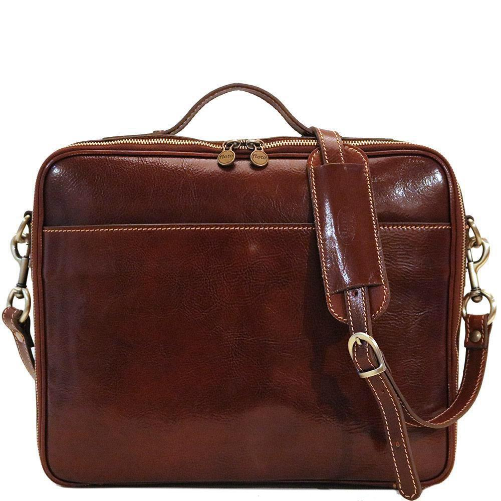Leather Laptop Computer Case Bag Floto Milano brown