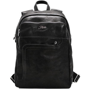Floto Italian Leather Backpack Knapsack in Black
