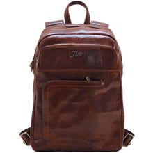 Load image into Gallery viewer, Leather Backpack Floto Brown monogram