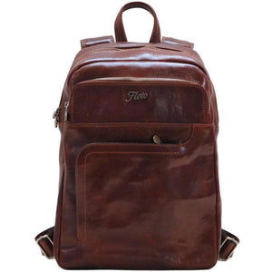 Floto Italian Leather Backpack Knapsack in Vecchio Brown