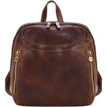 Load image into Gallery viewer, Floto Italian Leather Backpack Lampara satchel brown