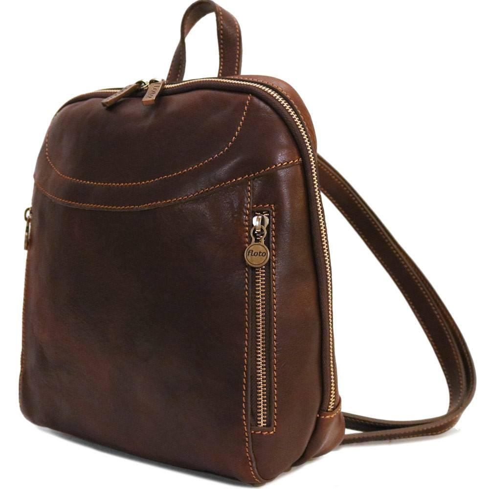 Floto Italian Leather Backpack Lampara satchel vecchio brown