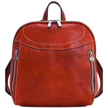 Load image into Gallery viewer, Floto Italian Leather Backpack Lampara satchel red