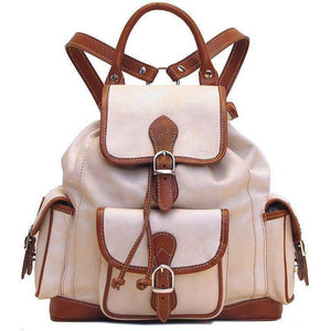 Floto Italian Leather Backpack Toscana satchel ivory brown
