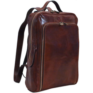 Leather Briefcase Floto Milano Monogram brown side