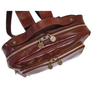 leather backpack floto milano brown close