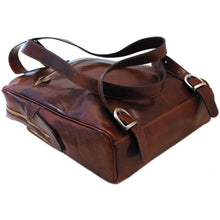 Load image into Gallery viewer, leather backpack floto milano brown bottom