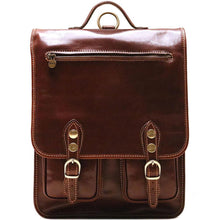 Load image into Gallery viewer, Italian Leather Backpack Floto Poste Knapsack brown