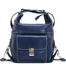 Load image into Gallery viewer, 4-way leather backpack floto procida blue