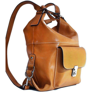 4-way leather backpack floto procida yellow
