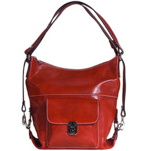Load image into Gallery viewer, 4-way leather backpack floto procida red