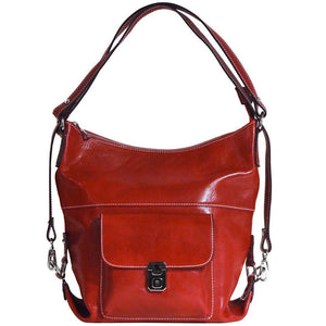 4-way leather backpack floto procida red